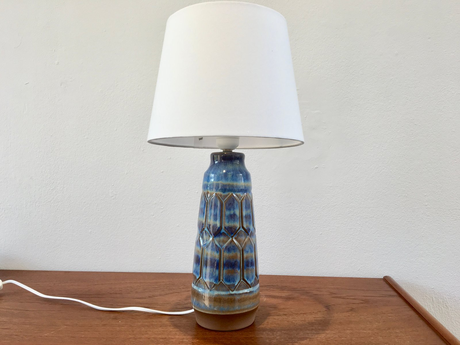 Blue Grey Ceramic Table Lamp By Einar Johansen 1960s For Sale At