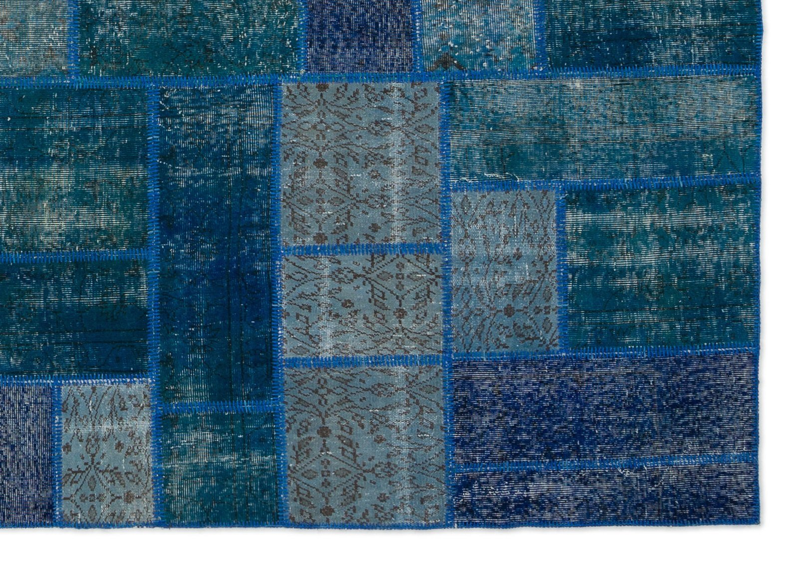 Patchwork blue and green rug 1960s 5 88600 €