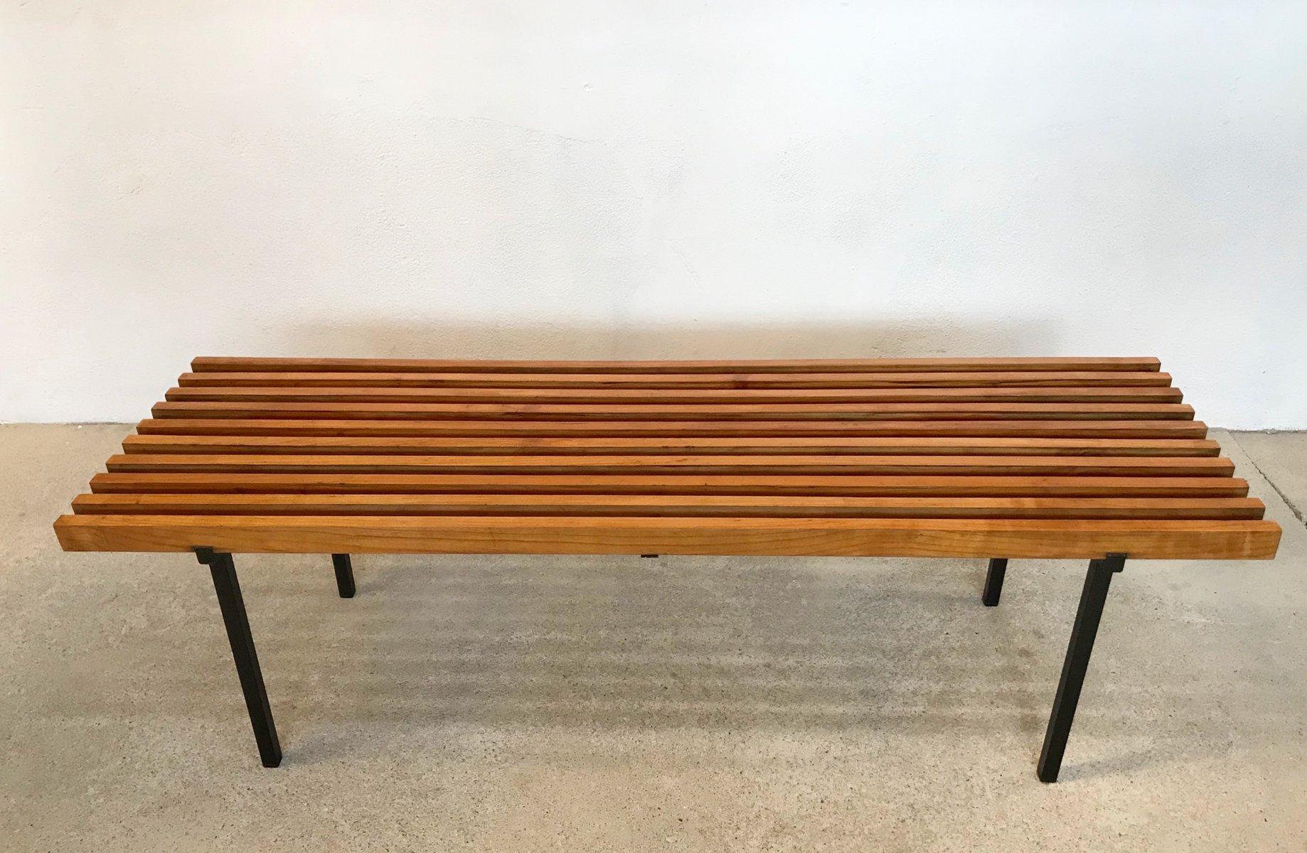 Minimalistische Bank aus Holzleisten & Stahlgestell, 1960er