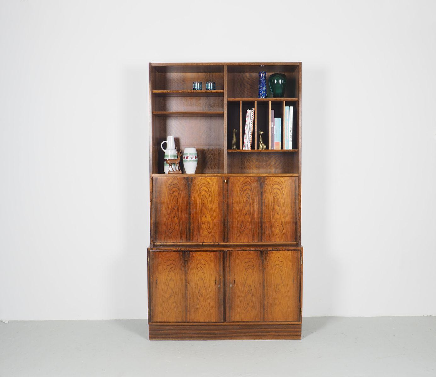 b cherregal mit schreibtisch aus palisander von carlo jensen f r hundevad co 1960er bei. Black Bedroom Furniture Sets. Home Design Ideas