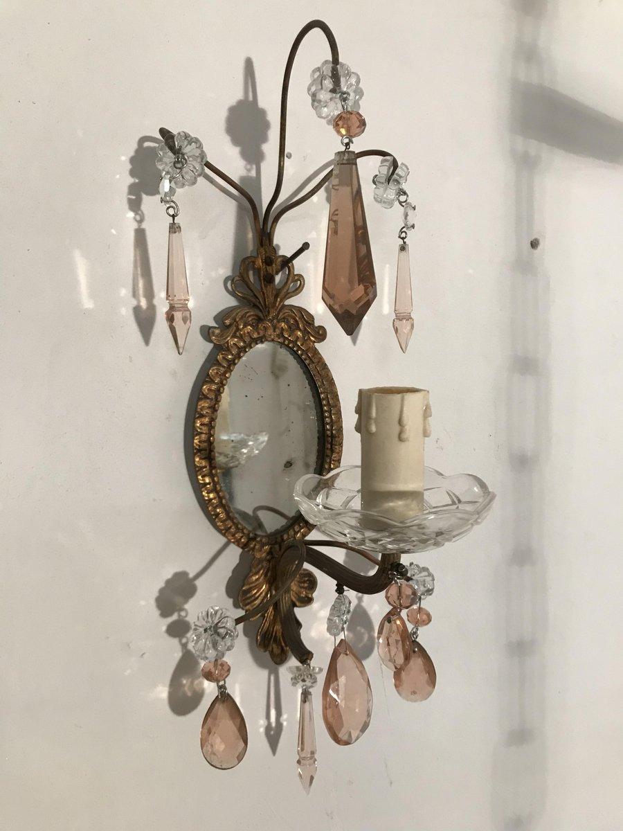 Vintage Spiegelwandleuchten mit pinken Anhängern aus Kristallglas, 2er...