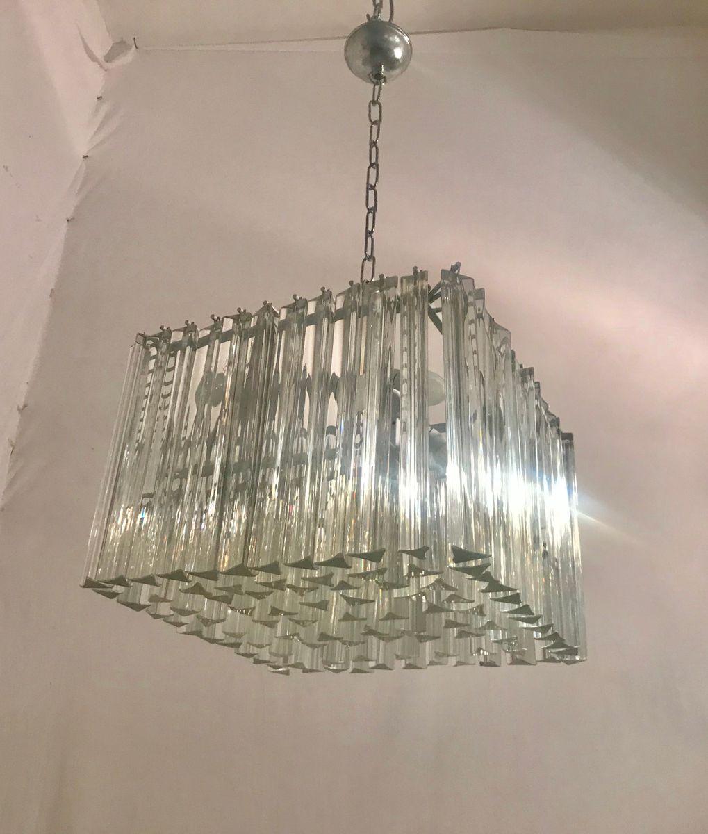 Prismenförmige Mid-Century Hängelampe aus Kristallglas von Paolo Venin...
