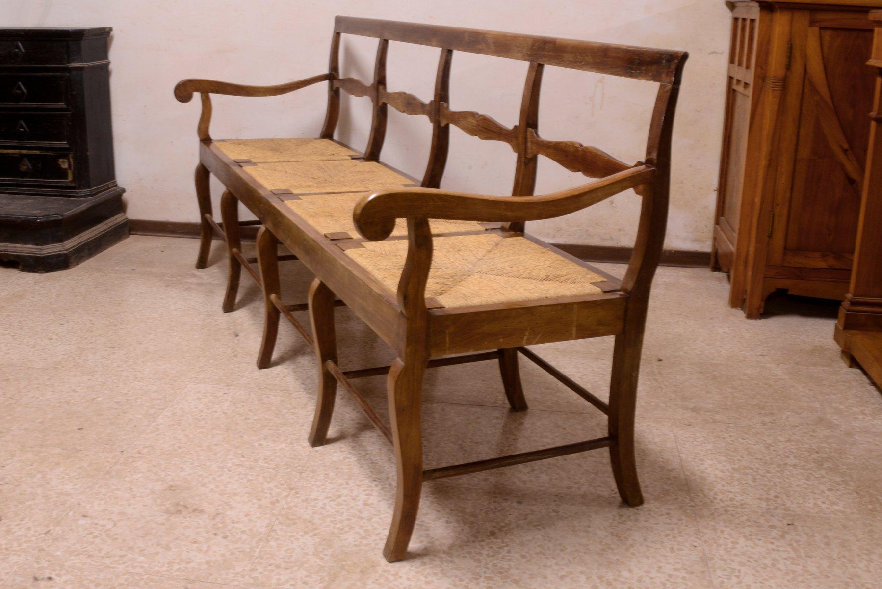 Vintage 4-Sitzer Bank aus Nussholz