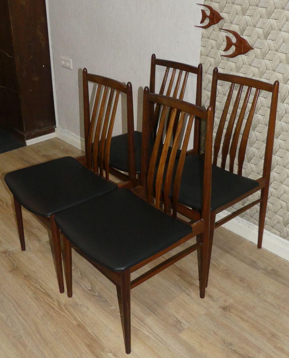 schwarze esszimmerst hle mit kunstlederbezug 1960er 4er set bei pamono kaufen. Black Bedroom Furniture Sets. Home Design Ideas