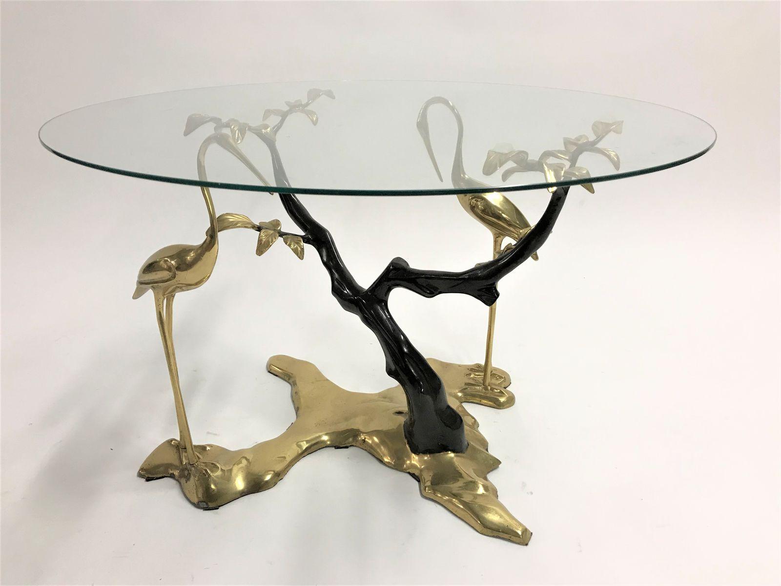 Couchtisch aus Bronze mit Gestell in Kranich-Optik von Willy Daro, 197...