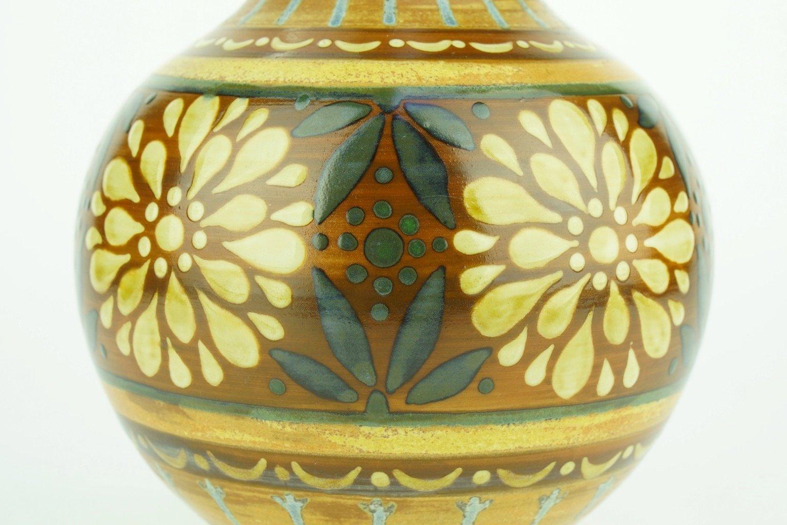 vase art deco en grès orange de keramis boch, 1920 en vente sur pamono