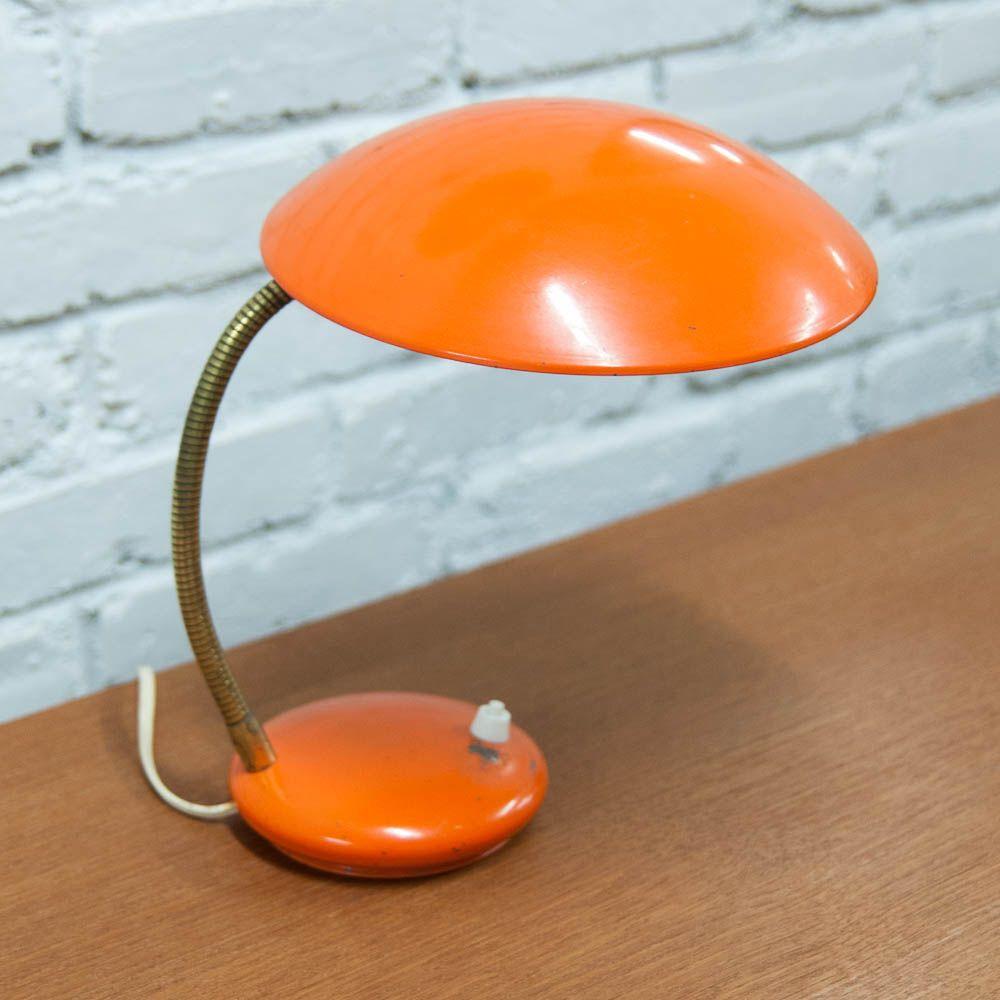 Orangene Vintage Nachttischlampe | Lampen > Tischleuchten > Nachttischlampen | Orange | Metall