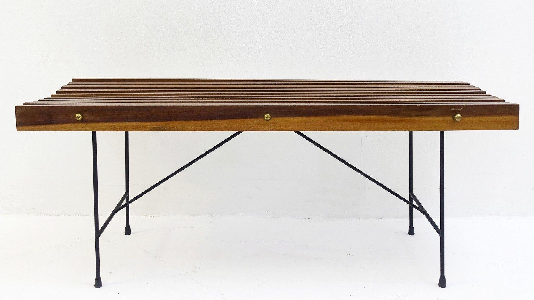 Italienische Sitzbank aus Eisen, Messing & Holz