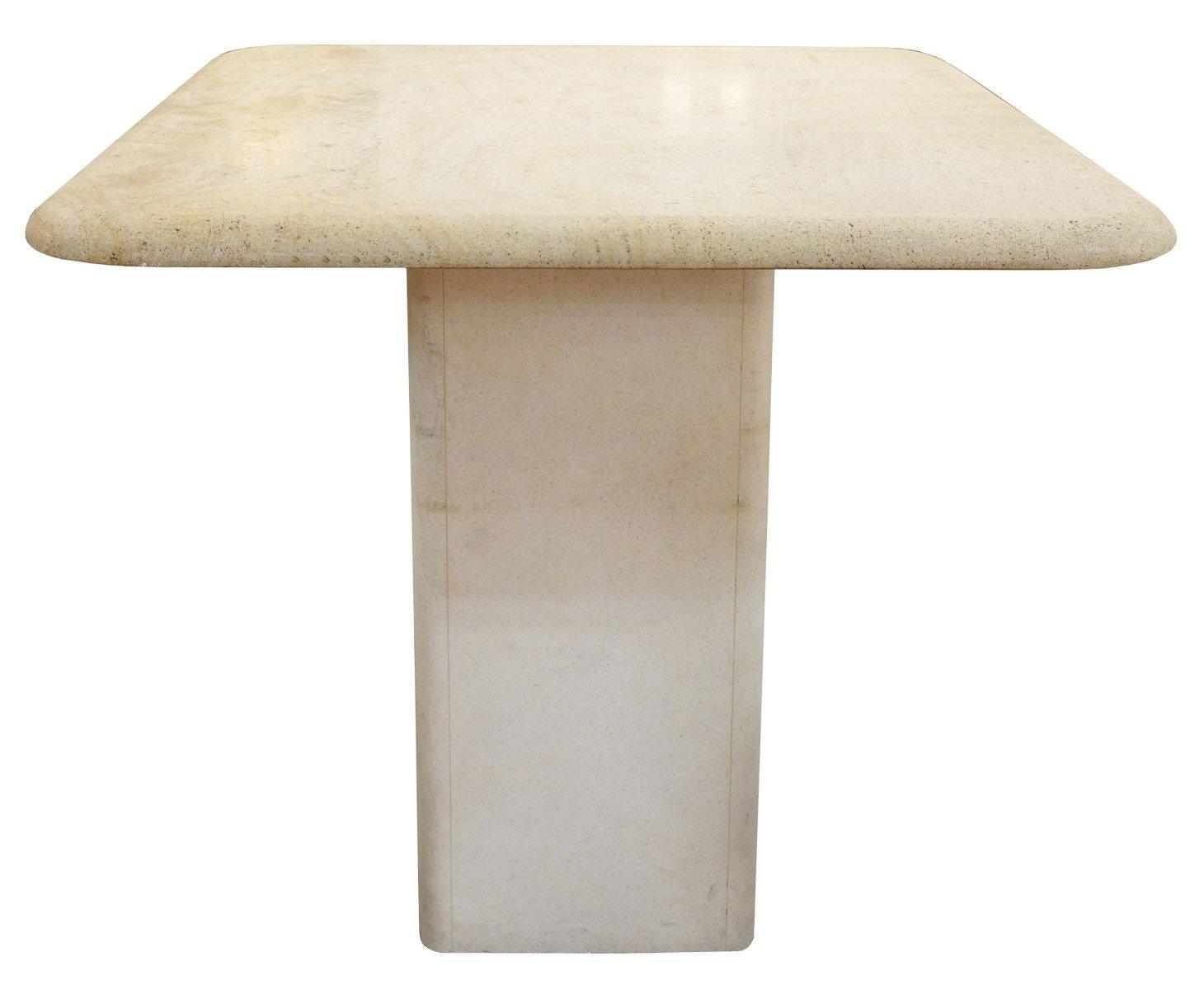 Viereckiger Vintage Tisch aus Travertin