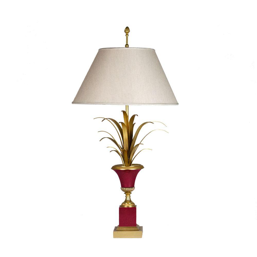 Französische Tischlampe aus Metall in Gold & Zinnoberrot, 1960er