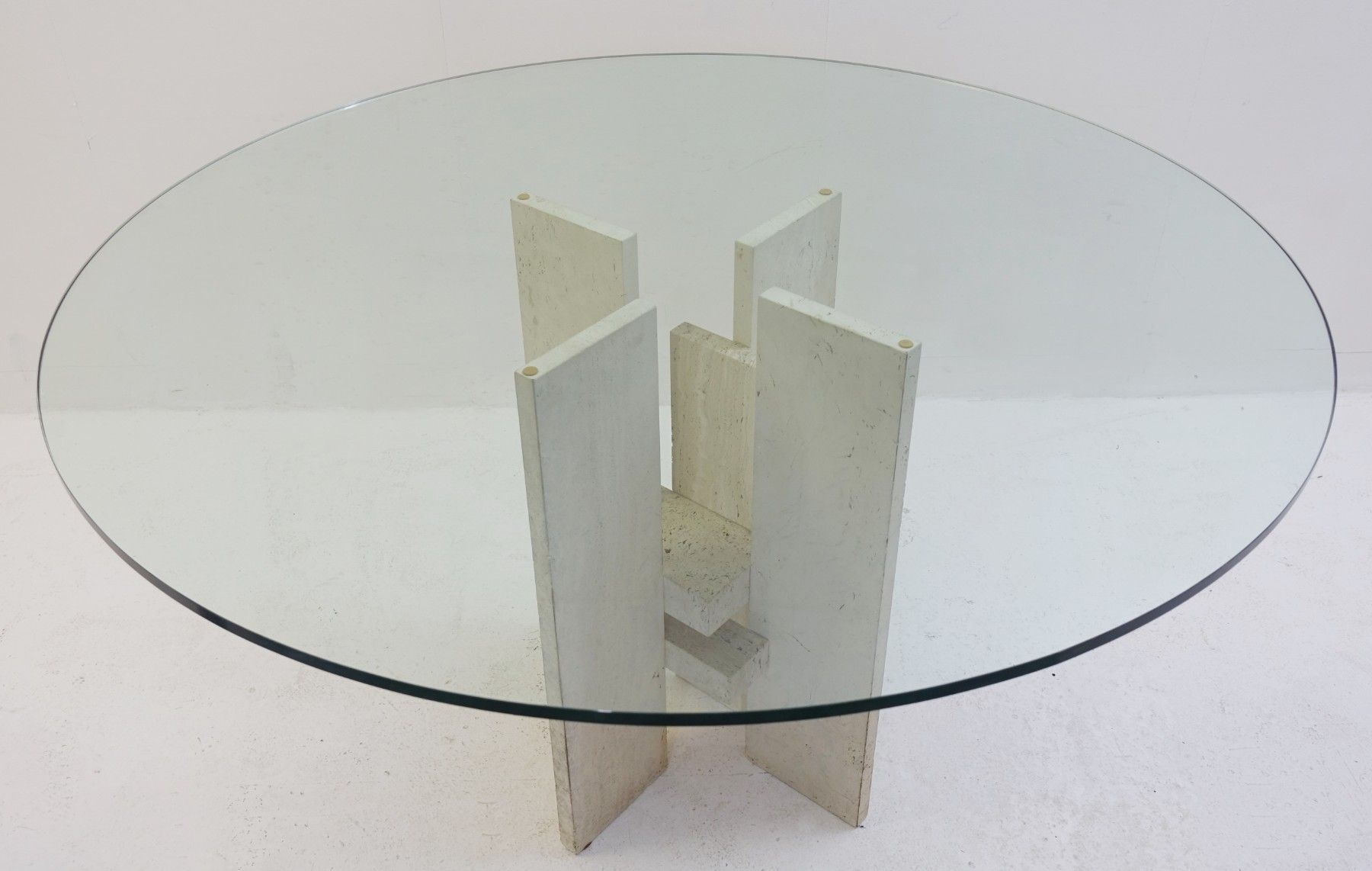 Vintage travertine and glass dining table 5 1 50000 €