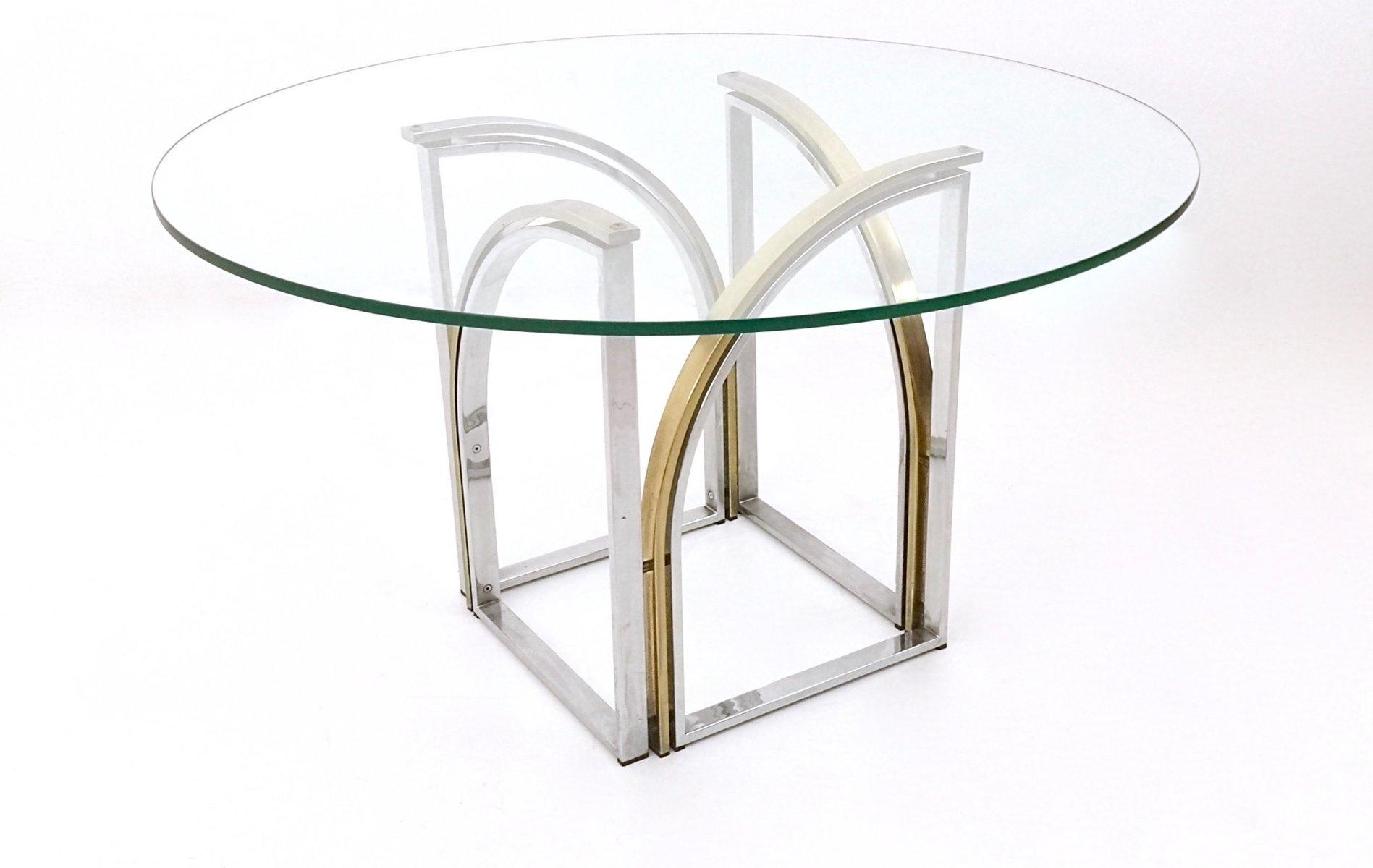 runder esstisch aus messing glas stahl von romeo rega 1970er bei pamono kaufen. Black Bedroom Furniture Sets. Home Design Ideas
