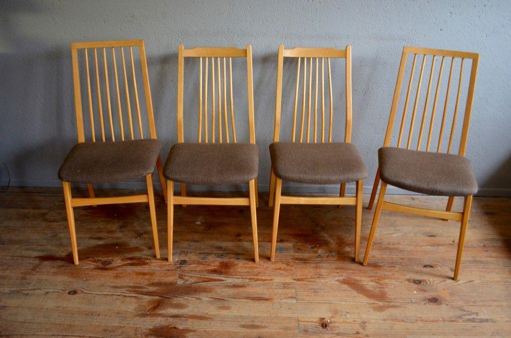 mid century esszimmerst hle 4er set bei pamono kaufen. Black Bedroom Furniture Sets. Home Design Ideas