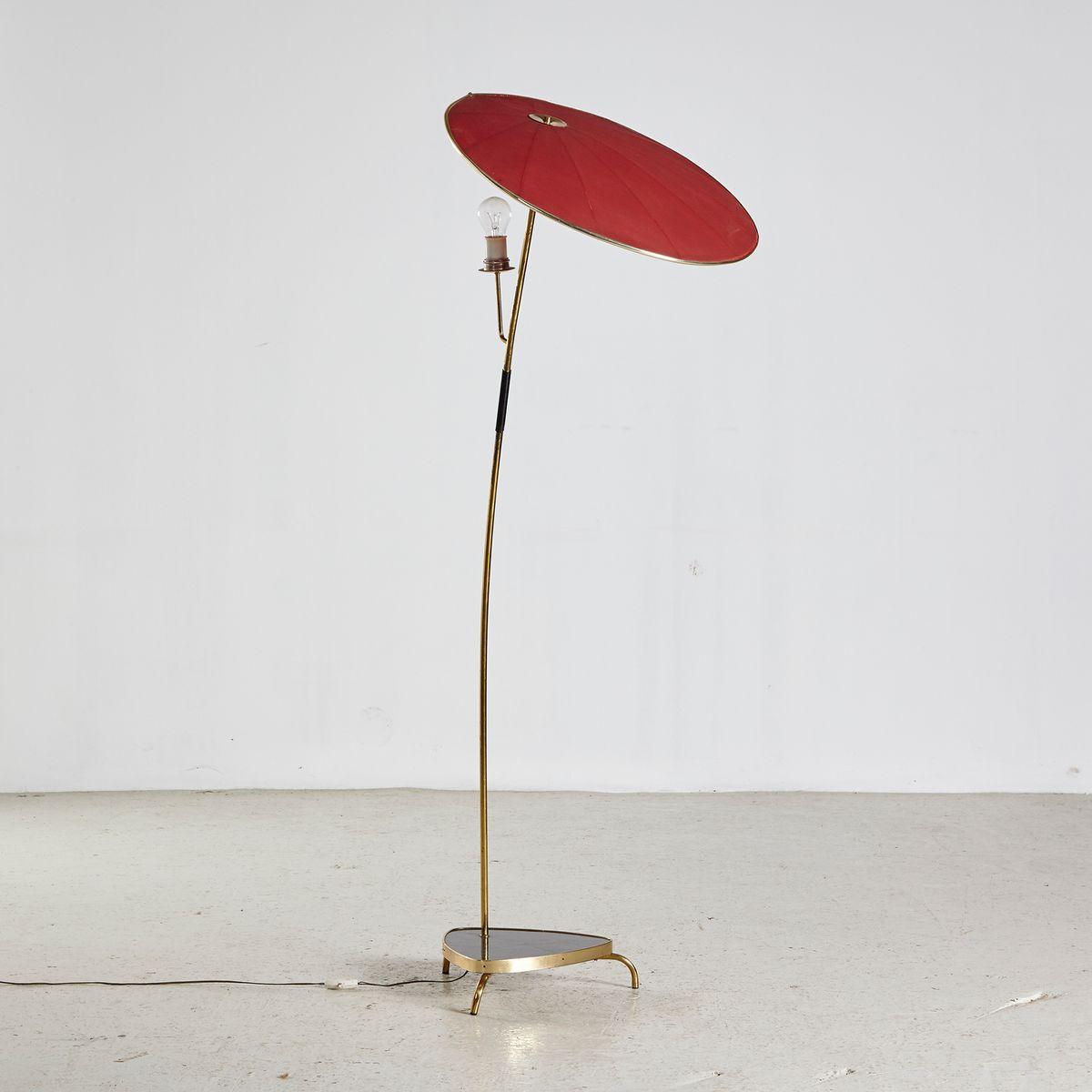 Französische Stehlampe mit Regenschrim, 1950er
