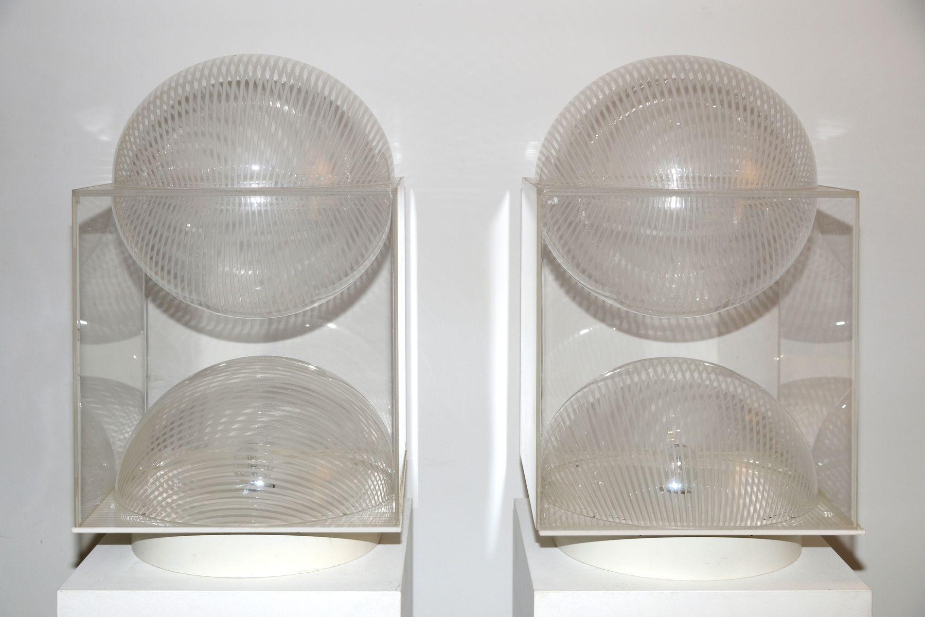 Vintage Tischlampe aus graviertem Plexiglas von Gaetano Missaglia