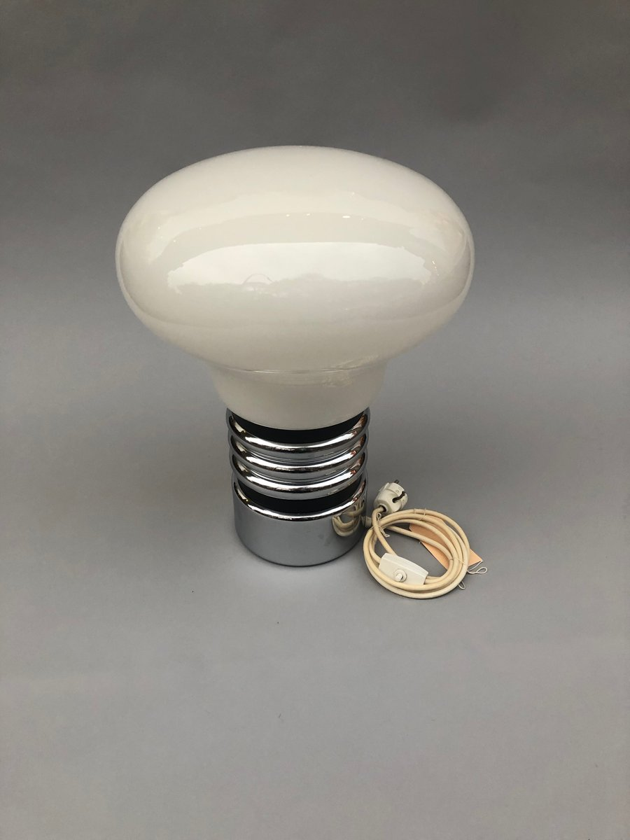 Vintage Light Bulb Shaped Table Lamp In Opal Glass 1970s For Sale
