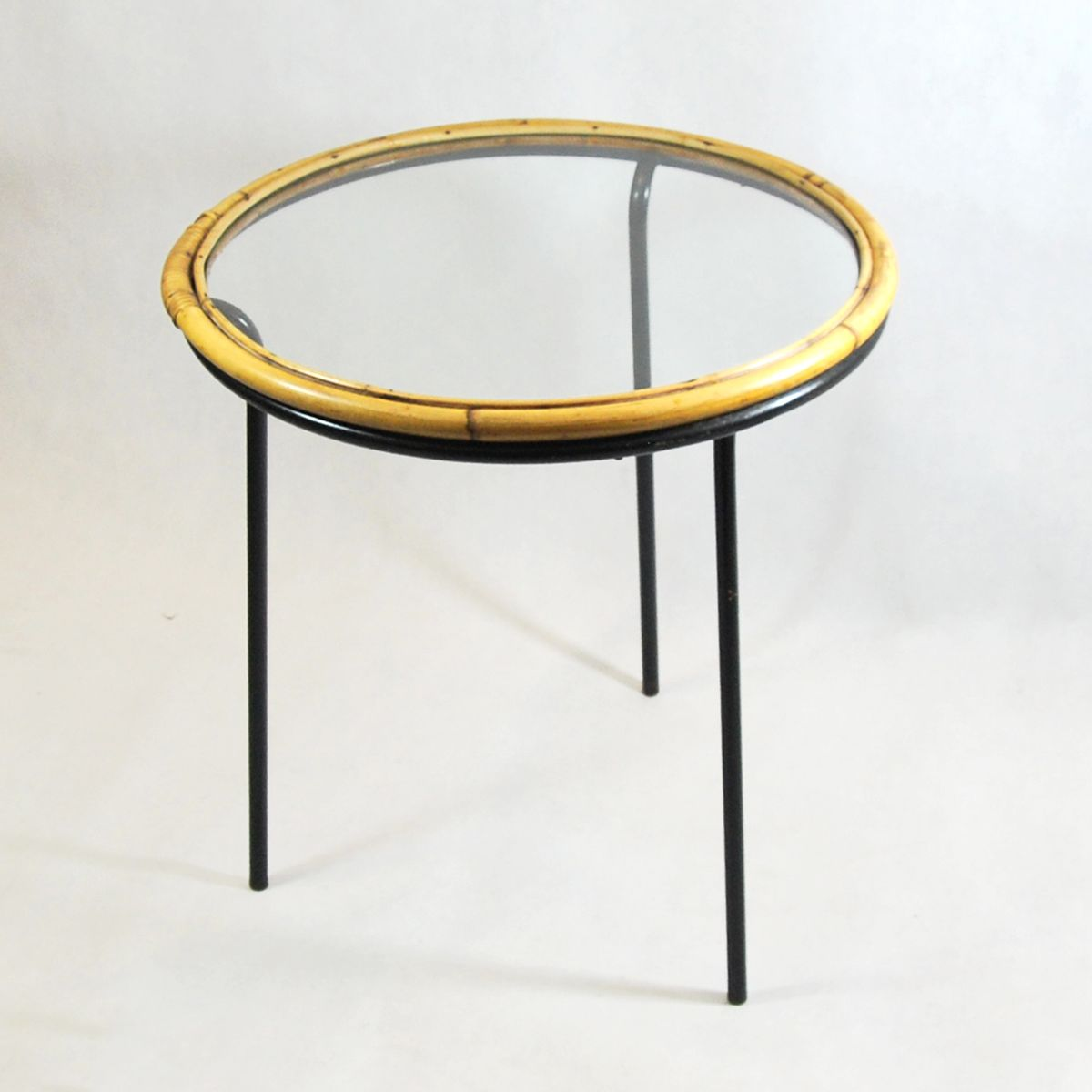 Round glass and rattan coffee table 1960s