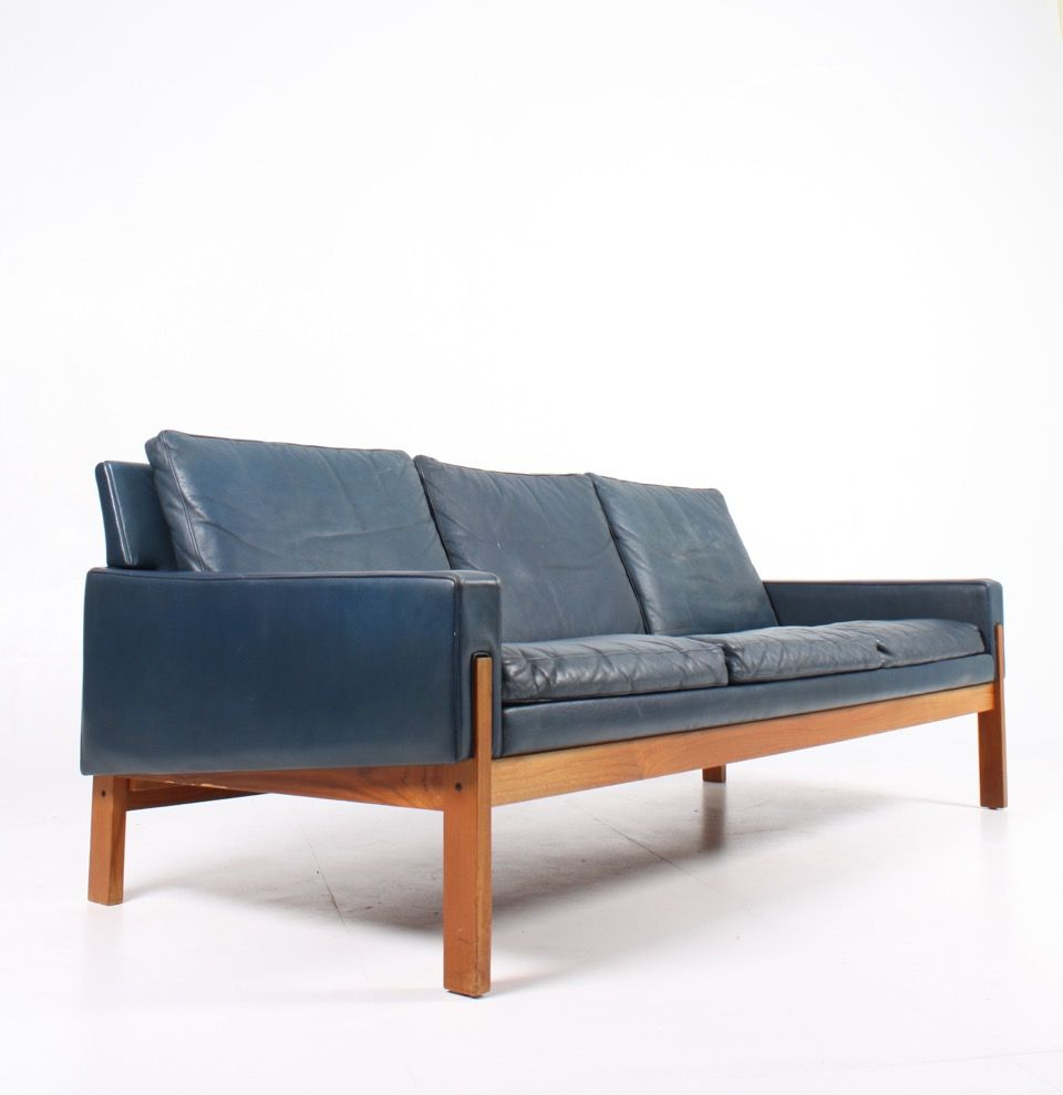 Blue Leather Sofa 1960s For Sale At Pamono