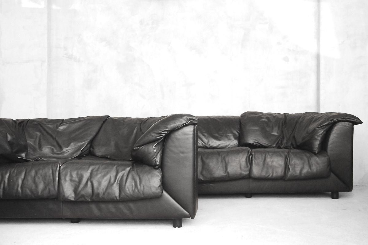schwarzes 2 sitzer ledersofa von de sede 1980er bei pamono kaufen. Black Bedroom Furniture Sets. Home Design Ideas