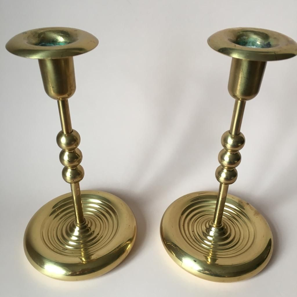 Vintage brass plated candleholders set of 2