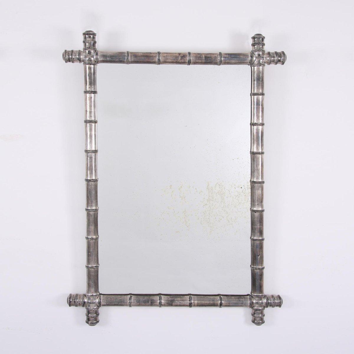 vintage spiegel mit rahmen aus bambus in silber bei pamono kaufen. Black Bedroom Furniture Sets. Home Design Ideas