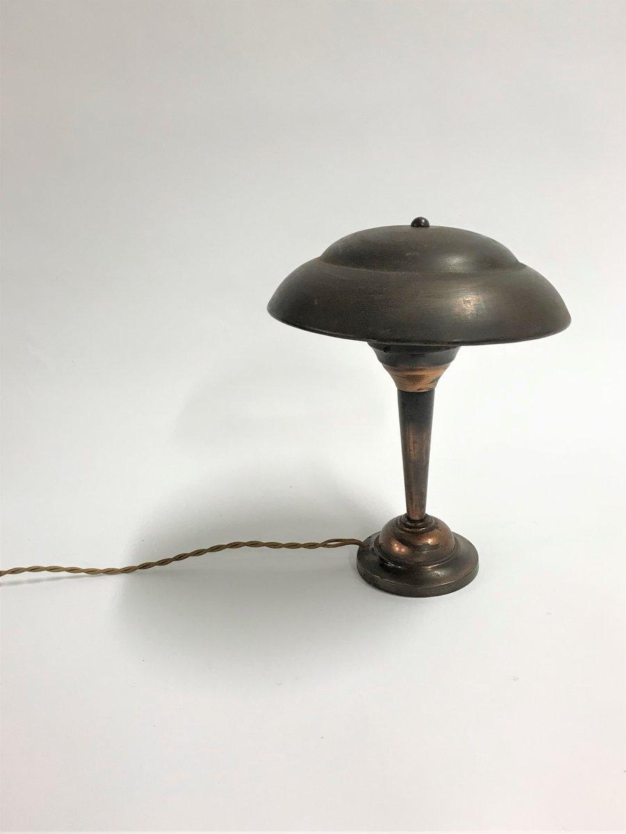 Art Deco Mushroom Schreibtischlampe aus Kupfer, 1930er