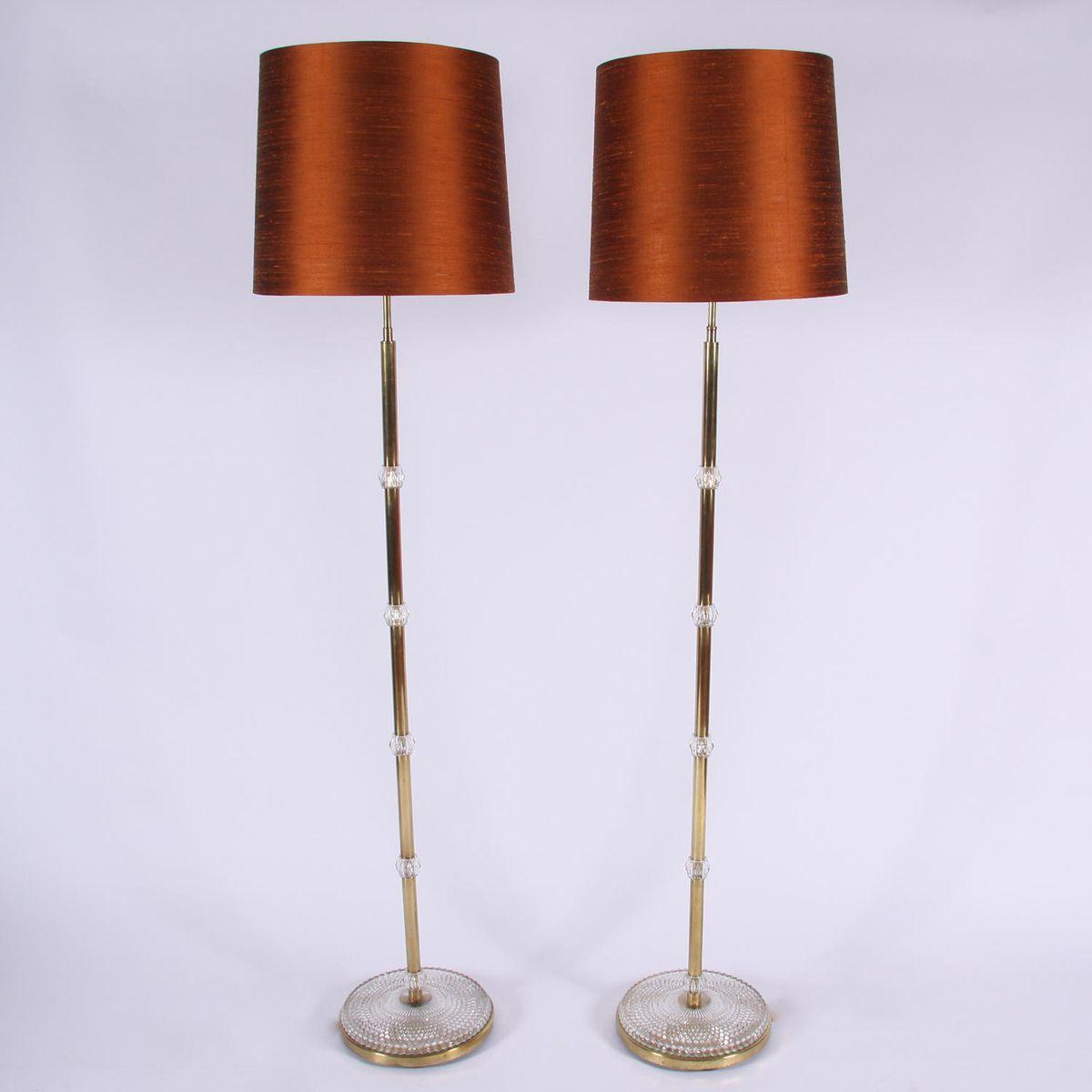 Stehlampen aus Messing, 1960er, 2er Set