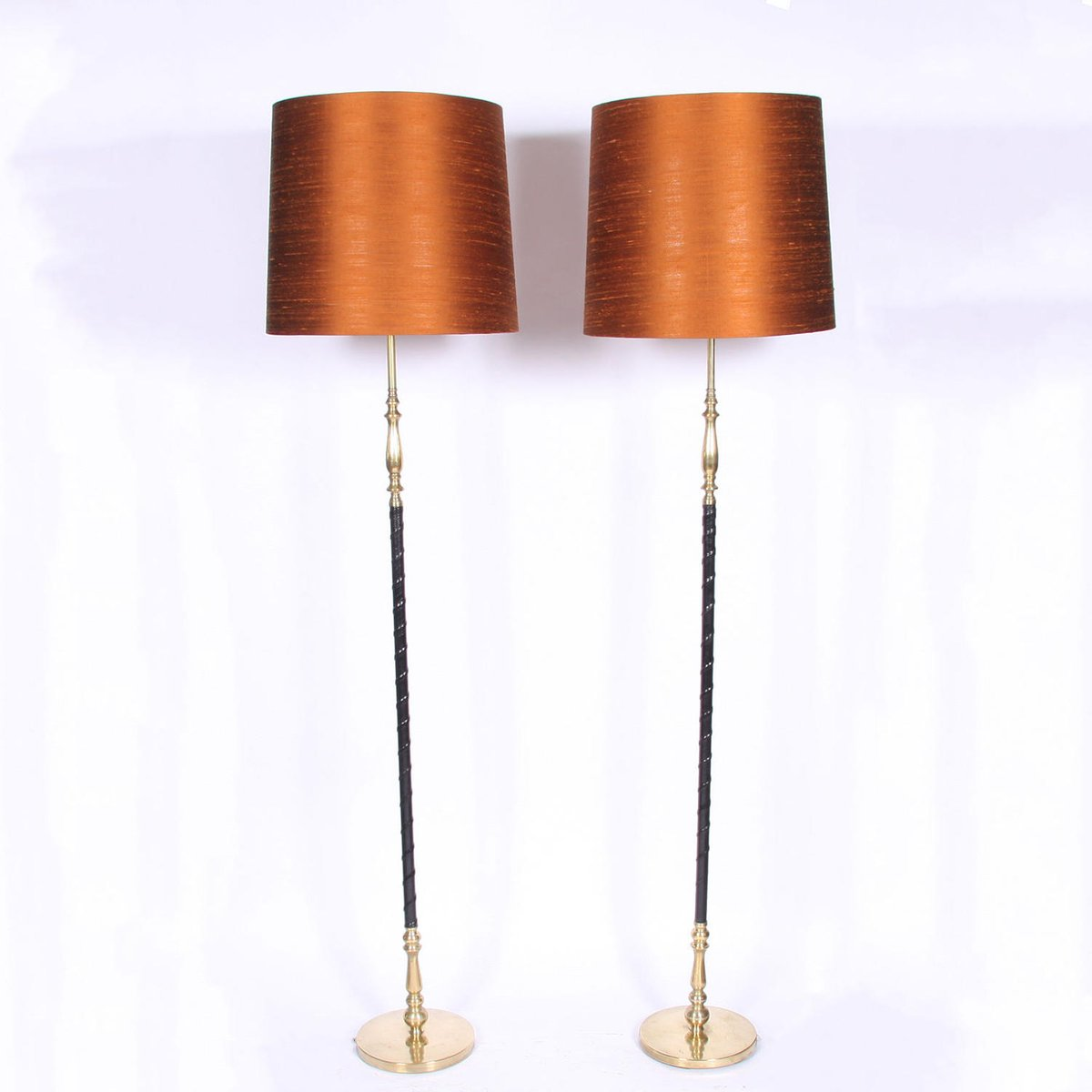 Leather and Brass Floor Lamps, 1960s, Set of 2