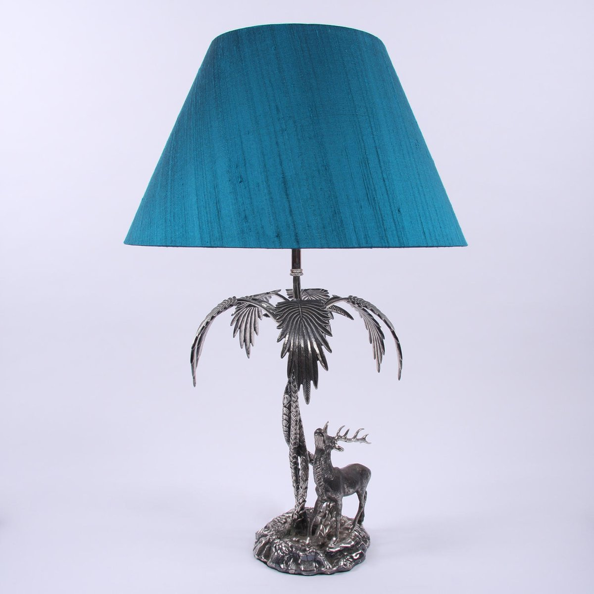 Versilberte Lampe in Hirsch- & Palmen-Optik, 1950er