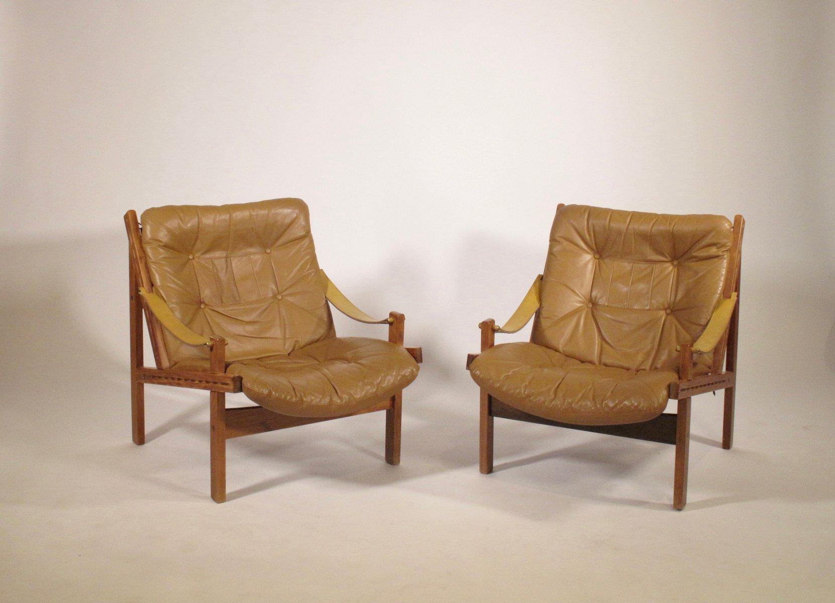Schwedische Hunter Chairs von Torbjorn Afdal für Bruksbo, 1960er, 2er ...