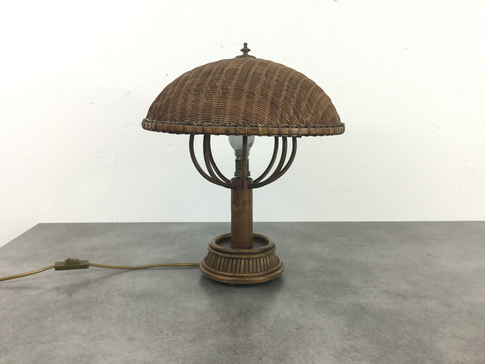 Tischlampe aus Rattan, 1960er