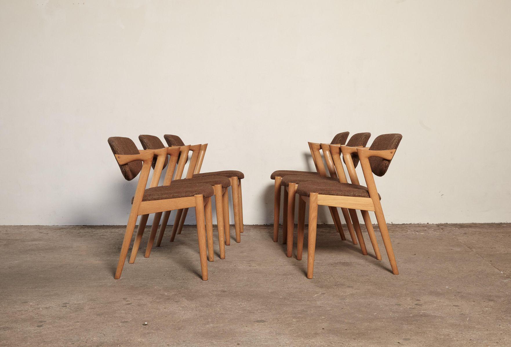 chaises de salle manger mod le 42 en ch ne par kai kristiansen pour schou andersen 1960s set. Black Bedroom Furniture Sets. Home Design Ideas