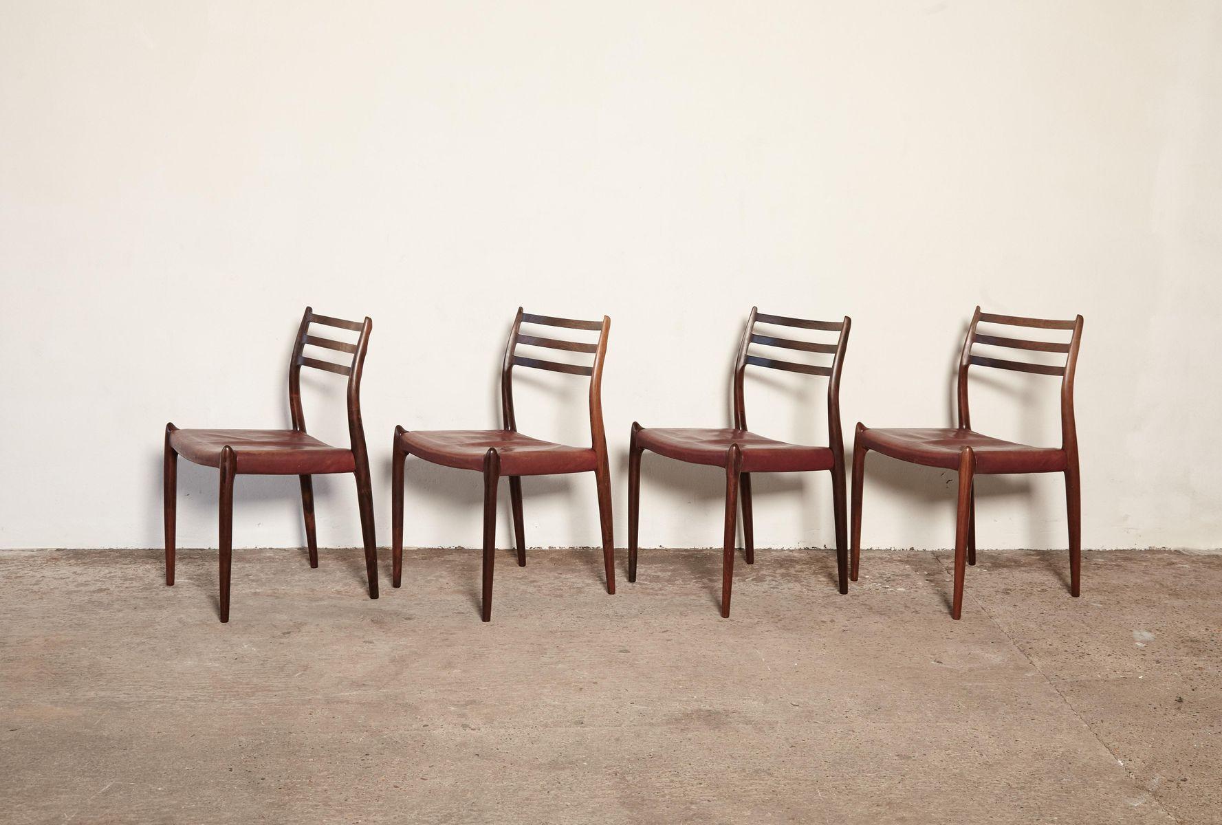 chaises de salle manger mod le 78 en palissandre par niels o m ller pour j l m llers. Black Bedroom Furniture Sets. Home Design Ideas