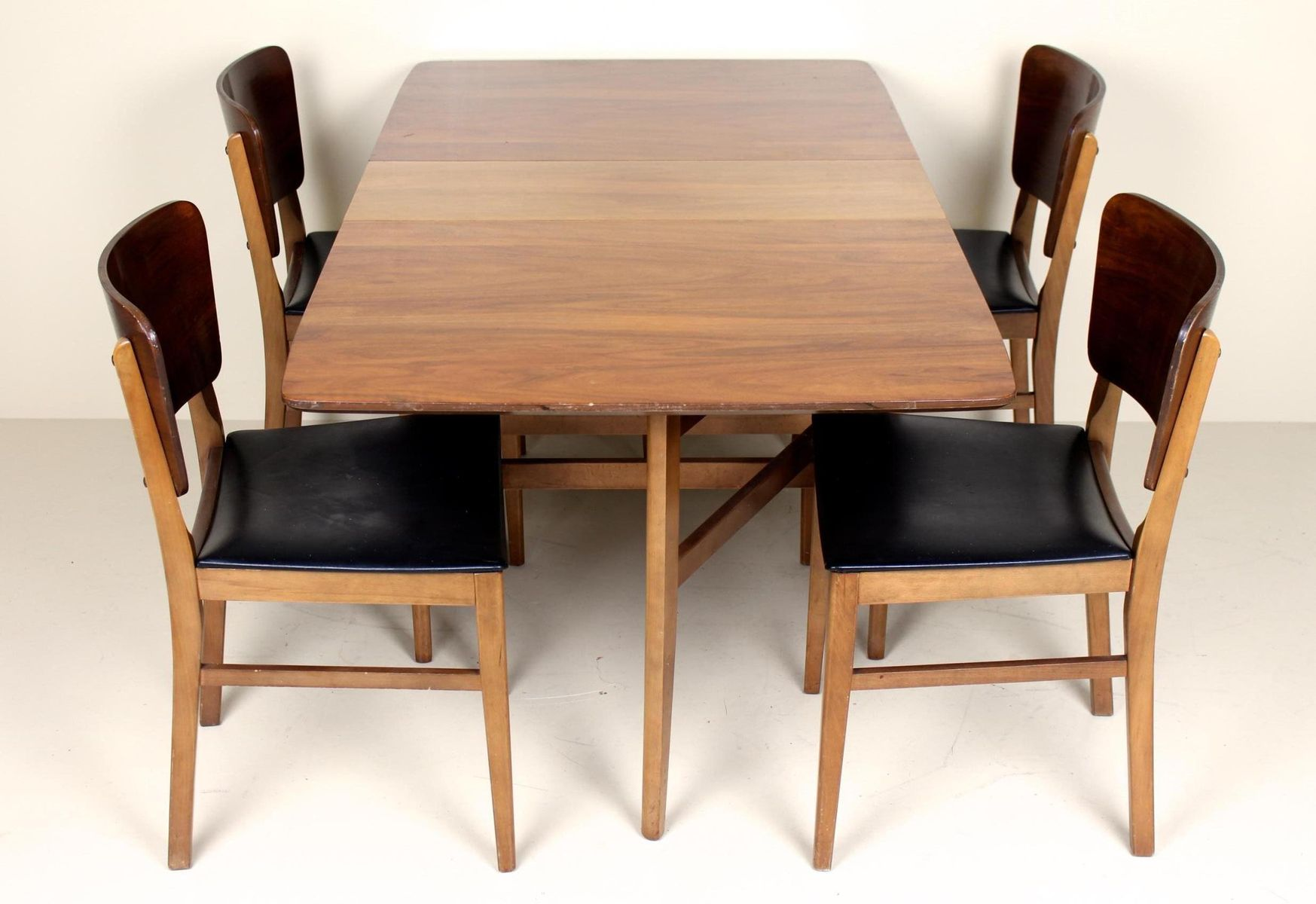 Vintage Walnut Gateleg Dining Table and 4 Chairs