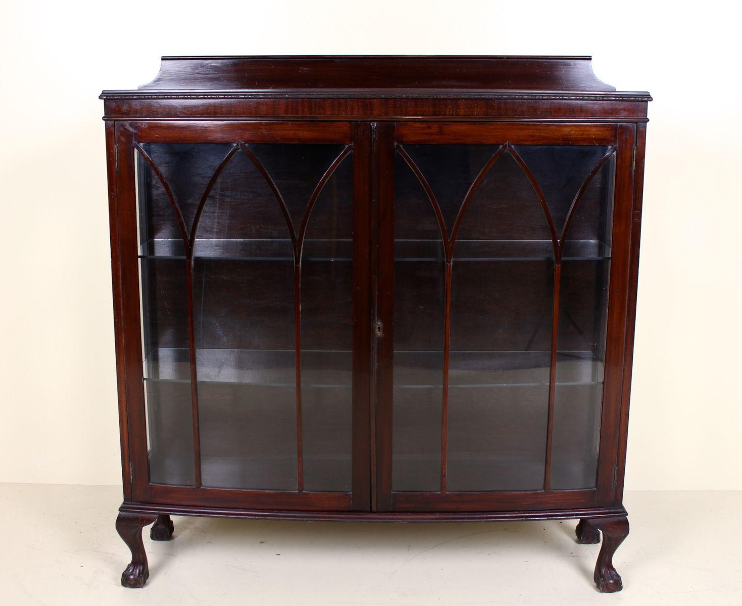 Antique Glazed Mahogany Bookcase Display Cabinet