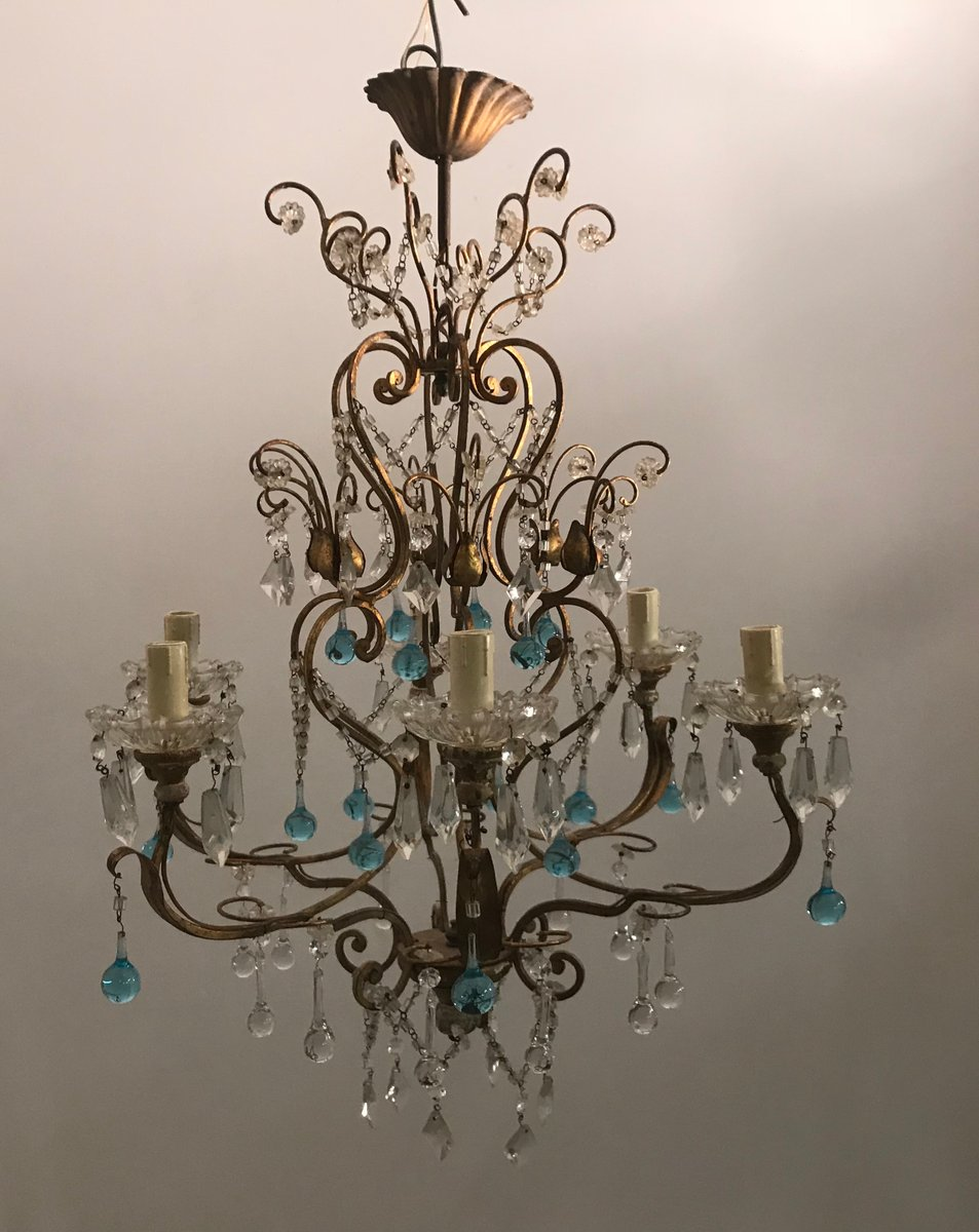 Vintage Kronleuchter aus Kristallglas mit Muranoglastropfen
