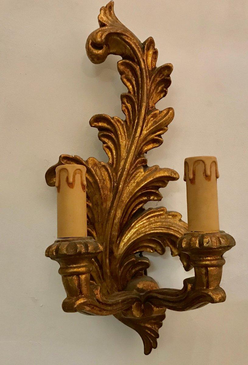 Vintage Wandlampen aus vergoldetem Holz, 3er Set