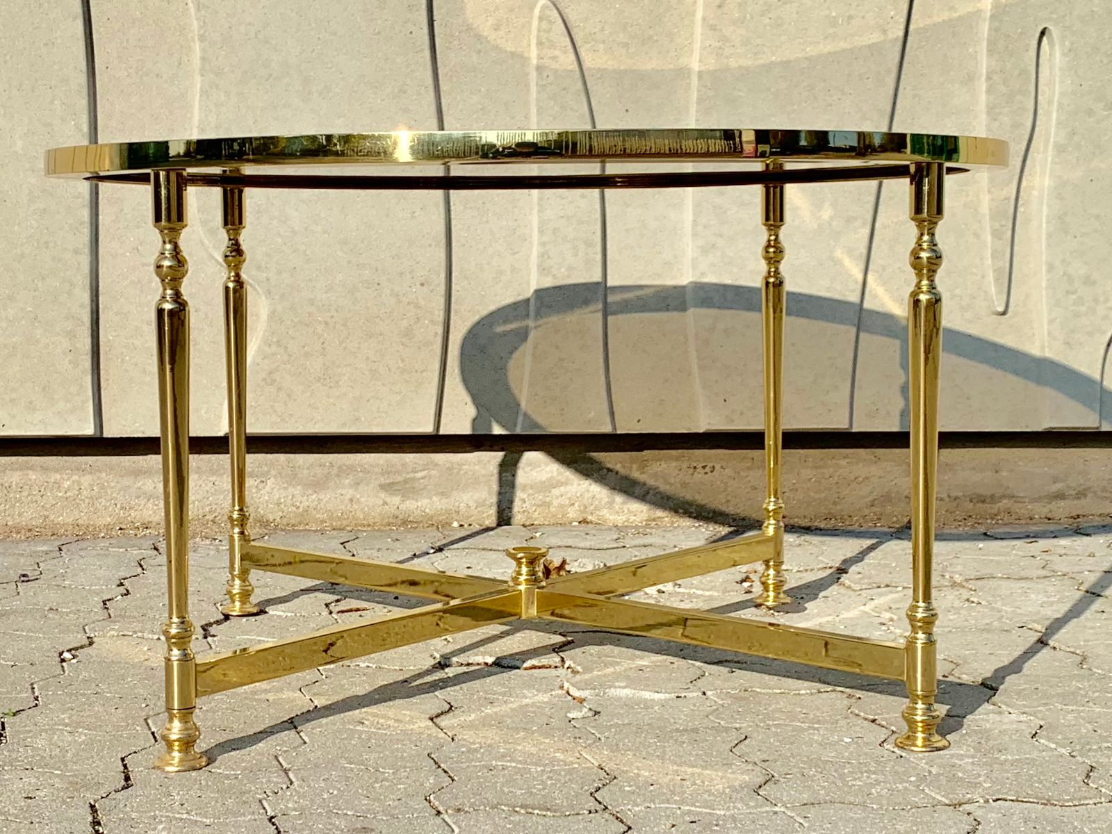 Brass Coffee Table with a Smoked Glass Top from Lysberg, Hansen & Ther...