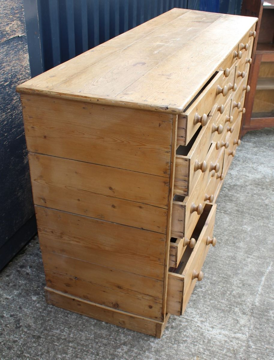 Large Antique Pine Chest Of 4 Drawers Z3854c