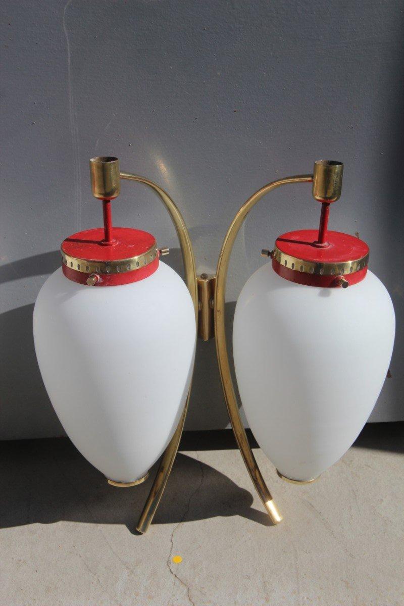 Rot lackierte Wandlampen aus Messing & satiniertem Glas von Stilnovo, ...
