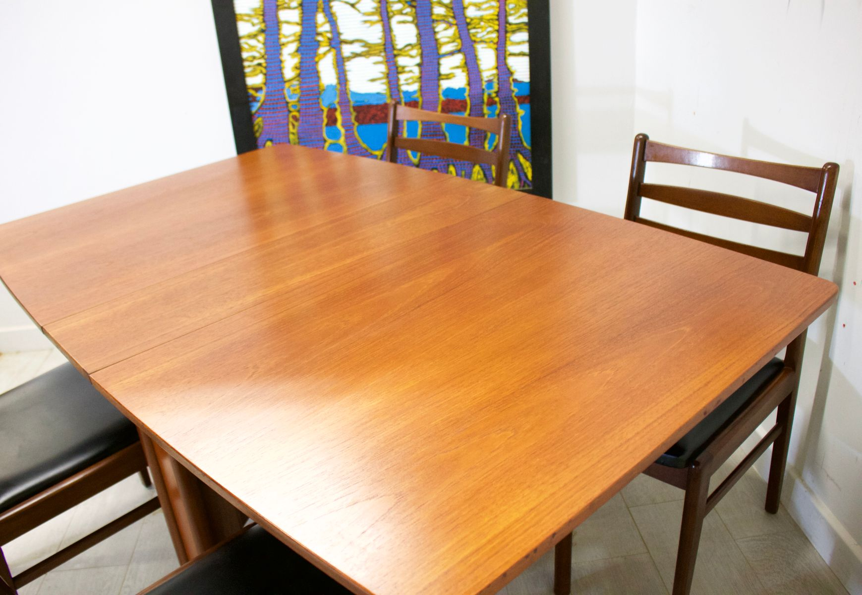 Mid Century Teak Drop Leaf Dining Table Chairs Set From McIntosh