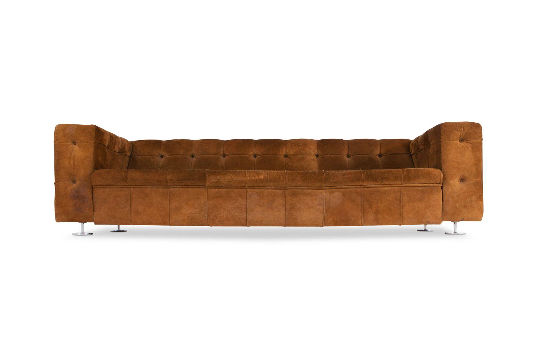 Vintage Camel Suede Sofa