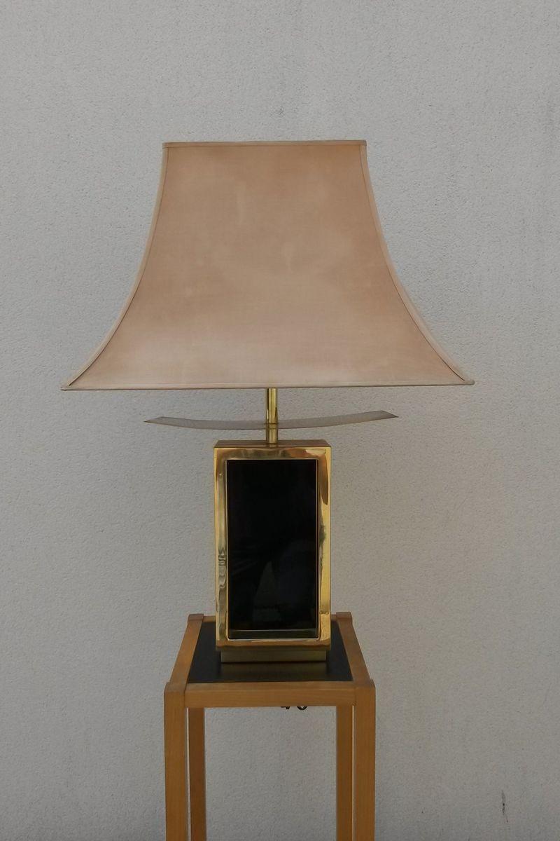 Lackierte & vergoldete Tischlampe aus Metall, 1978