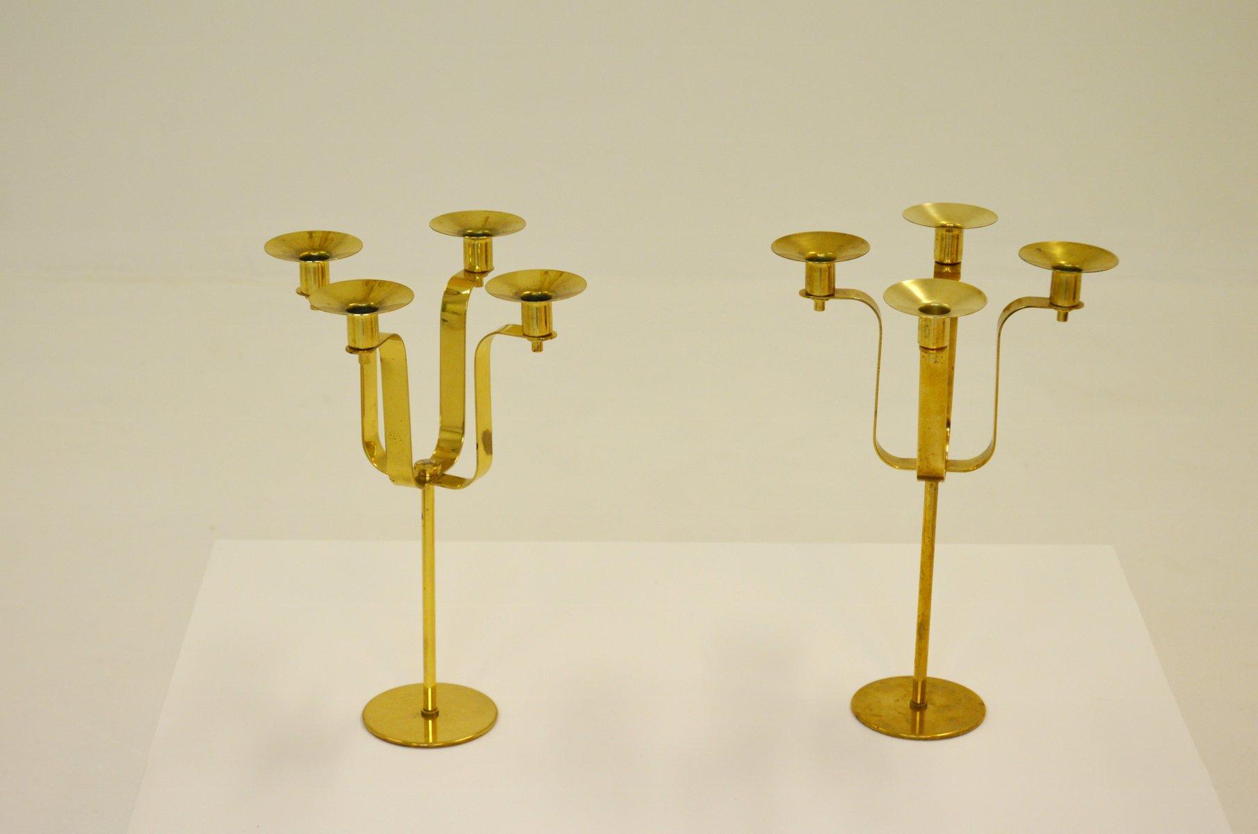 Kerzenhalter aus Messing von Hans-Agne Jakobsson, 1950er, 2er Set