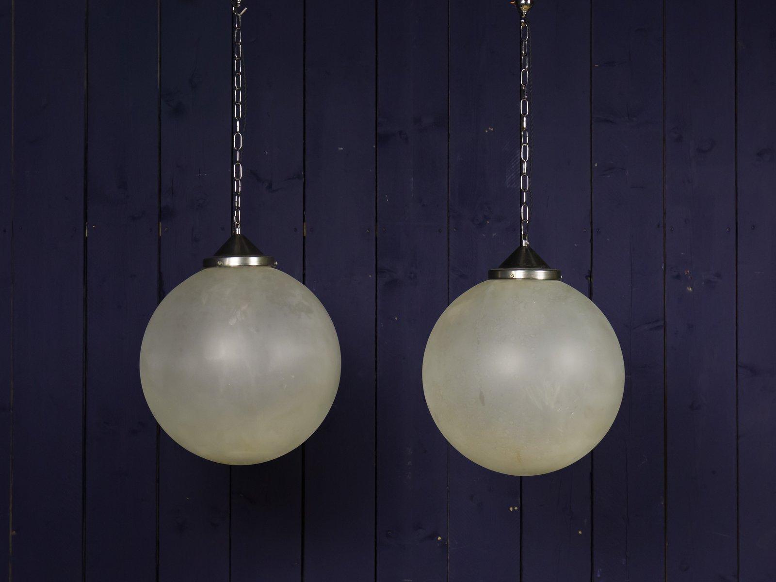 Große kugelförmige Lampe aus Glas, 1950er