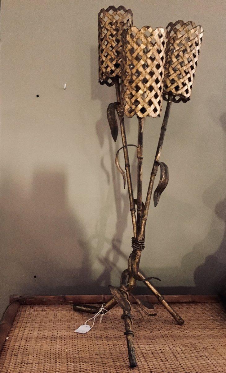 Vintage Tischlampe aus vergoldetem Eisen, 1950er