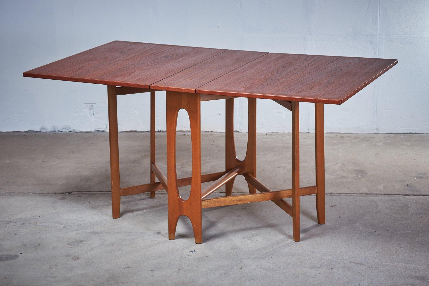 Klappbarer Ellipse Tisch aus Teak von Bendt Winge für Kleppes, 1950er