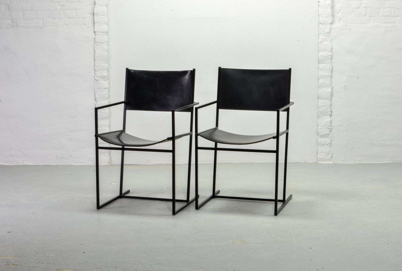 Dutch Black Ag 6 Leather And Metal Dining Chairs By Albert Geertjes