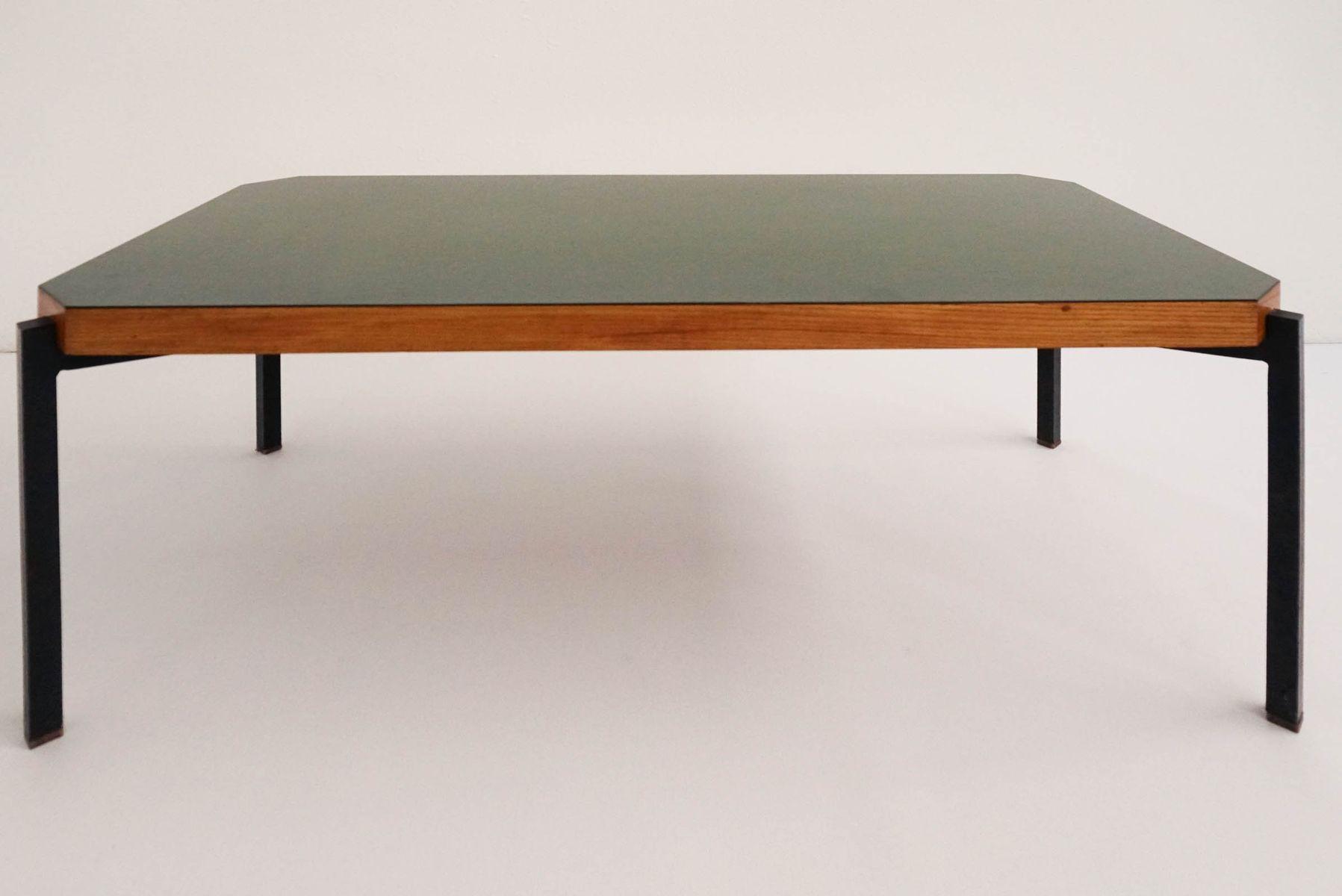 Minimal Italian Olive Green Coffee Table, 1960s