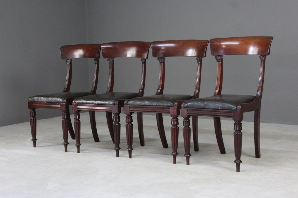 Antique Mahogany Dining Chairs, Set of 4 - Antique Mahogany Dining Chairs, Set Of 4 For Sale At Pamono